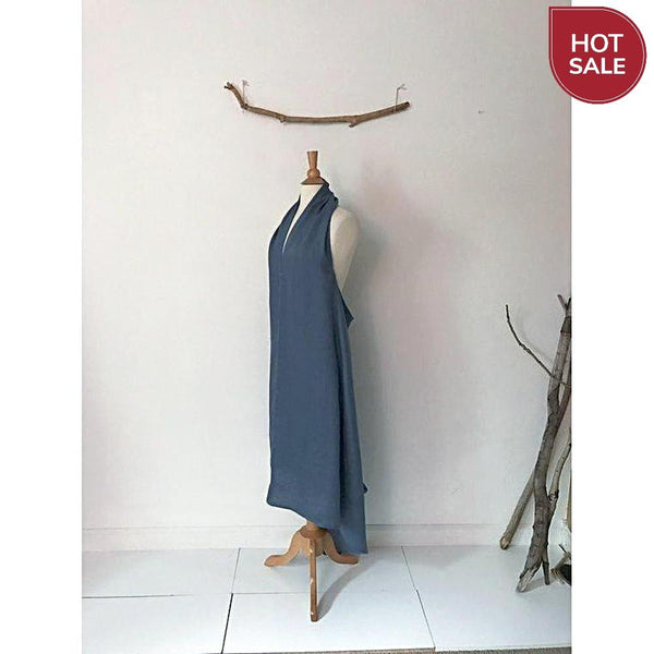 ready to wear light blue linen chic low cut halter dress-dress-linen clothing by anny