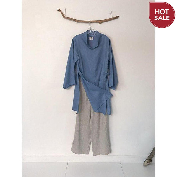 sky blue summer linen ao dai tunic blouse - size M -ready to wear-ao dai-linen clothing by anny