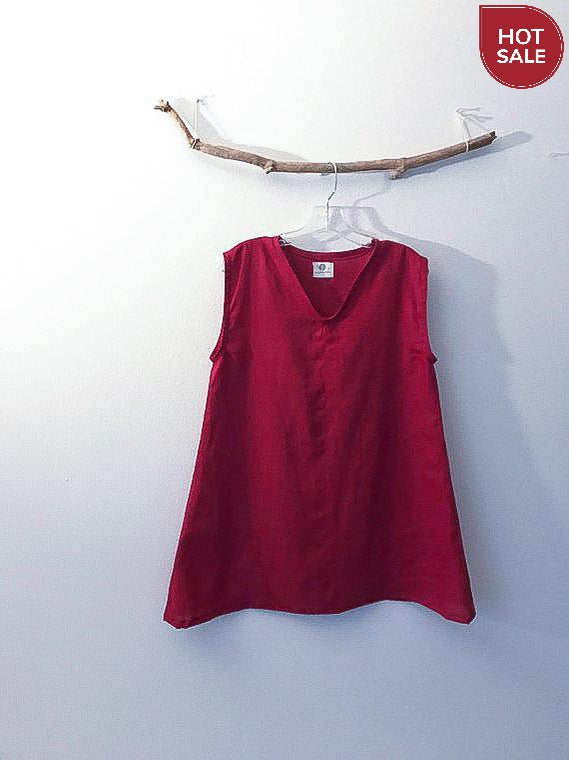 crimson red linen top- size S/M  ready to wear