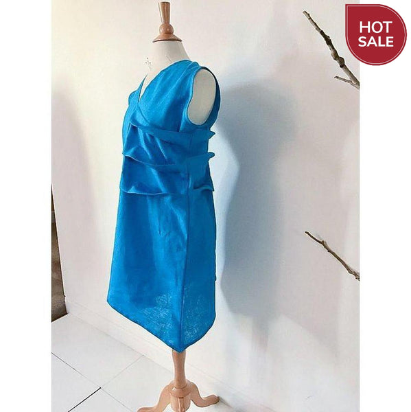 teal linen spiral pleats short dress size M - ready to wear - linen clothing by anny