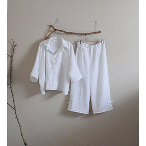 oversized linen shirt top and pants with frog toggles made to order - linen clothing by anny