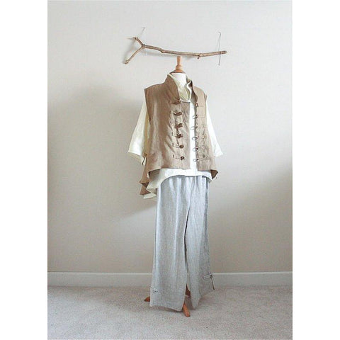 custom linen outfit blouse vest pants - linen clothing by anny