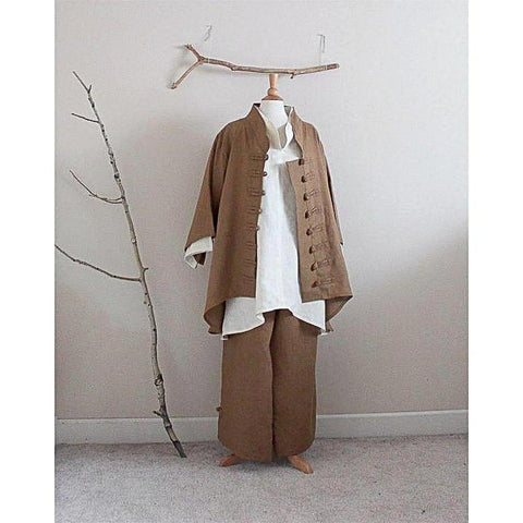 custom linen outfit including blouse,  jacket, and pants - linen clothing by anny