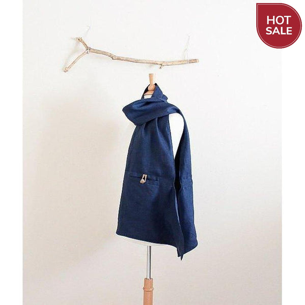 navy blue linen pouch scarf with ginger toggles ready to wear-scarf-linen clothing by anny