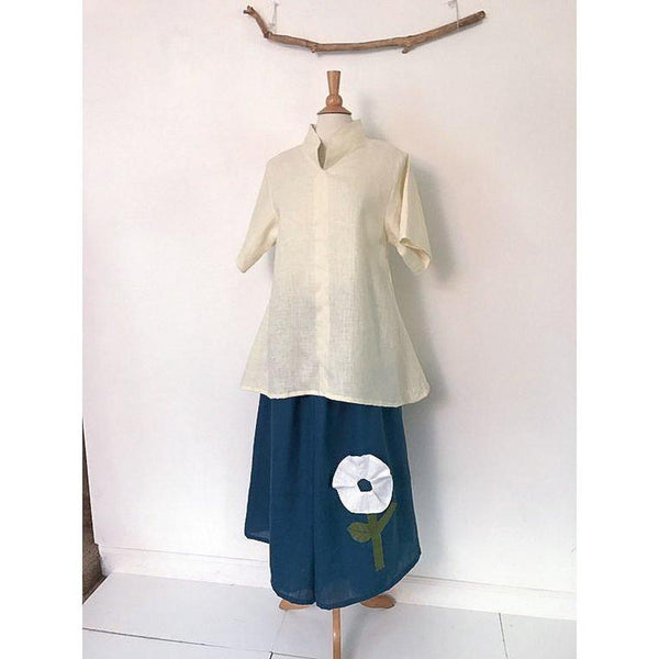 custom shirred waist wide leg linen pants with white pleated flower-linen clothing by anny