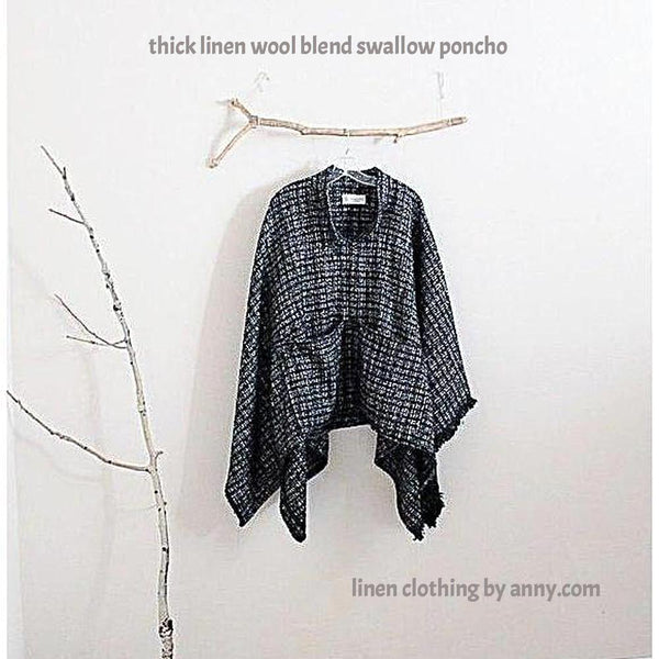 linen wool blend winter poncho