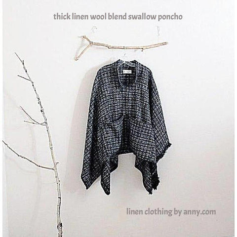 custom fall winter wool linen blend swallow poncho with big pockets - linen clothing by anny