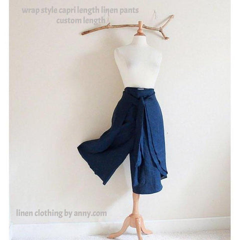 capri length linen butterfly wrap pants made to order - linen clothing by anny
