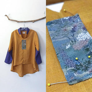 size M autumn gold purple linen blouse - ready to wear