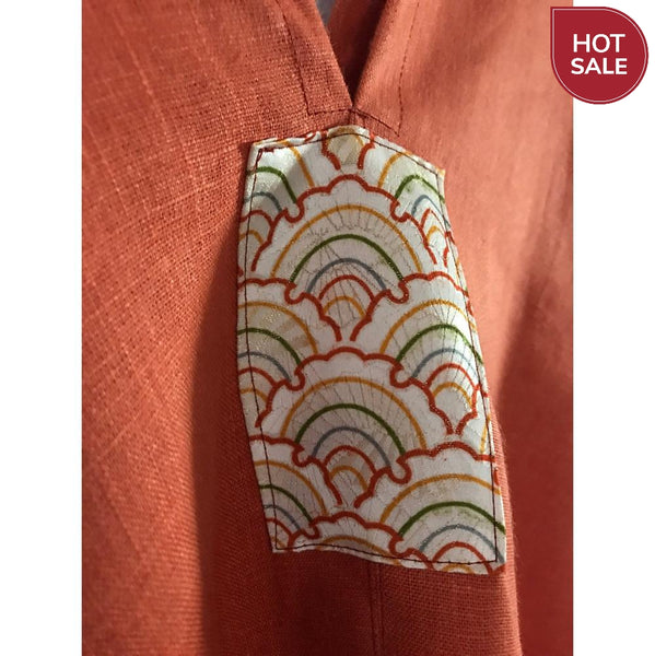 orange linen sparrow top with kimono motif  ready to wear - linen clothing by anny