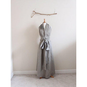 custom linen chic halter floor length dress with obi and roses / no train