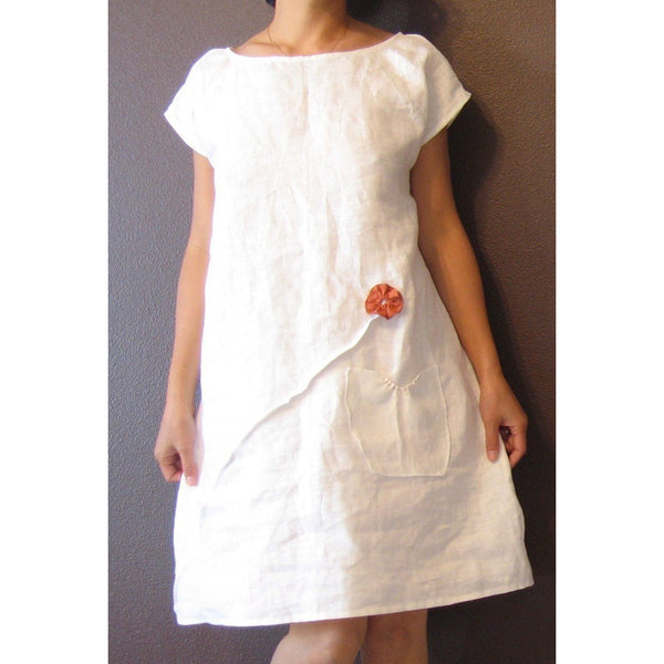 custom linen dress with pleated flowers