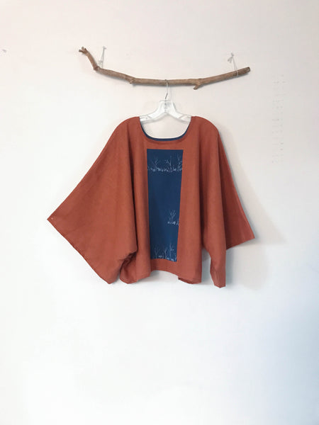 oversized rust linen top with vintage kimono panel  shoulder seamless ready to wear