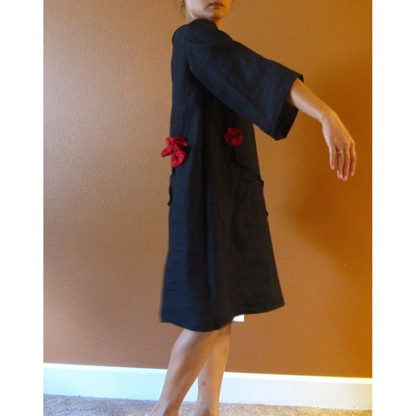 Custom pleated flowers free line tucks linen dress - linen clothing by anny