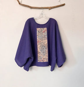 oversized light purple linen top with vintage kimono panel ready to wear