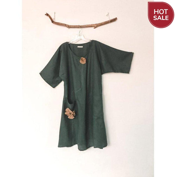 size M emerald linen dress ready to ship - linen clothing by anny