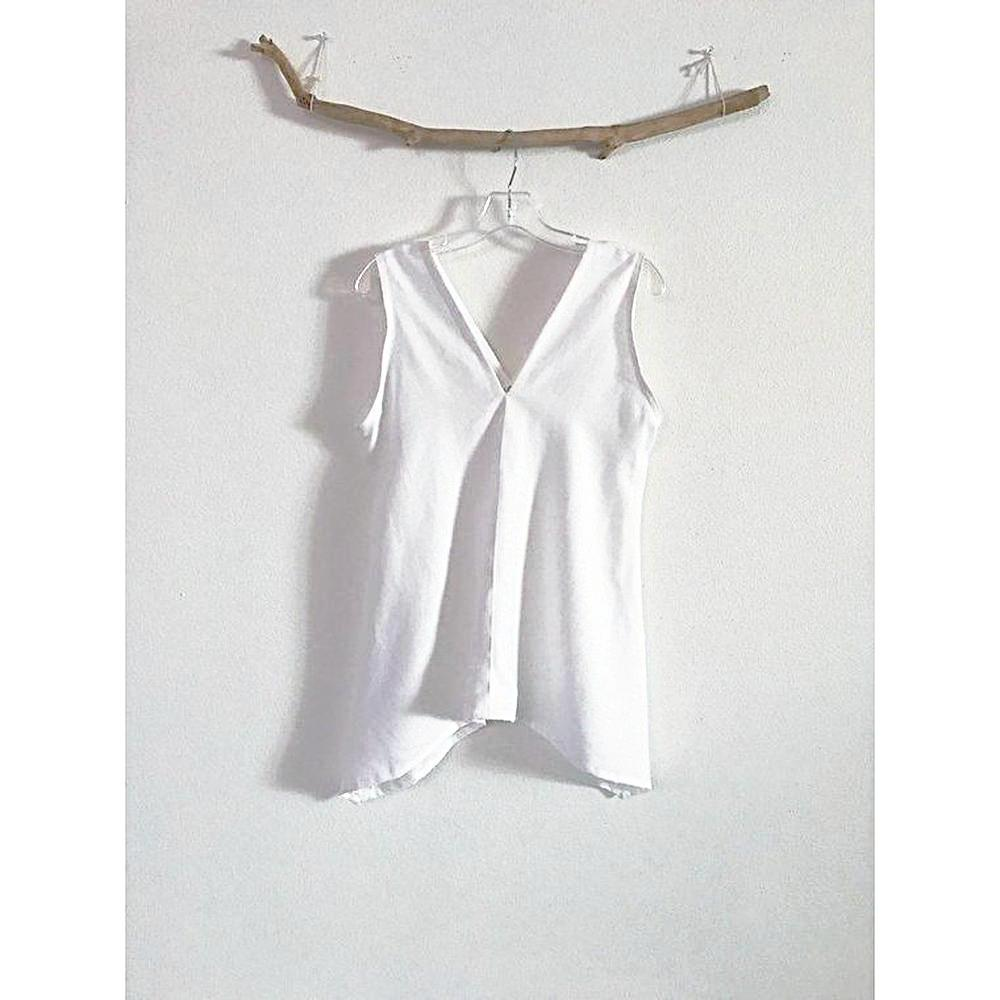 size S M ready to ship  white linen sparrow top - linen clothing by anny