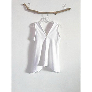 size S M ready to ship  white linen sparrow top