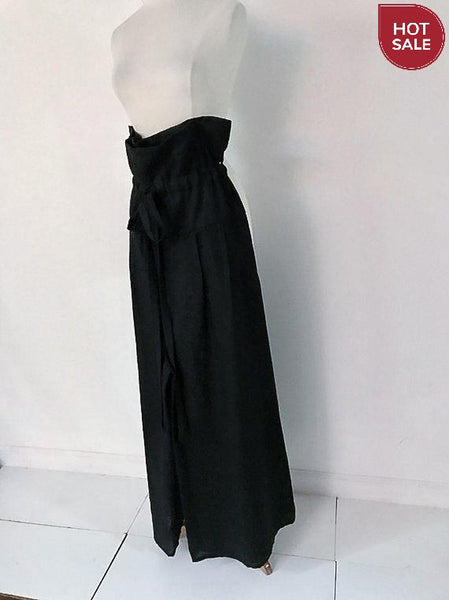 black linen drawstring lotus wide leg pants with side pockets