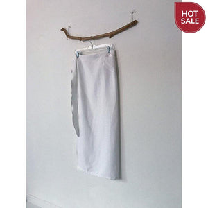 sold / white linen wrap skirt ready to wear - linen clothing by anny
