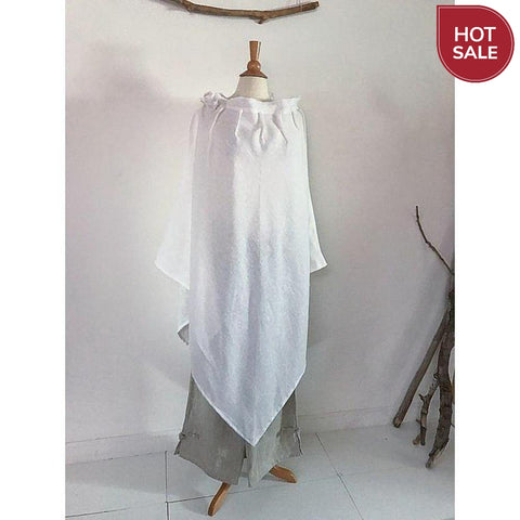 white linen poncho free size ready to wear-poncho-linen clothing by anny