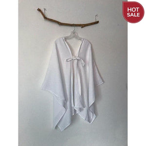 white linen origami wrap poncho jacket ready to wear-wrap-linen clothing by anny