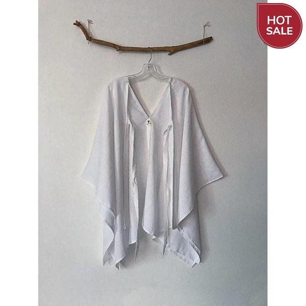 white linen origami wrap poncho jacket ready to wear - linen clothing by anny