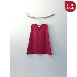 crimson red linen top- size S or M ready to wear-top-linen clothing by anny