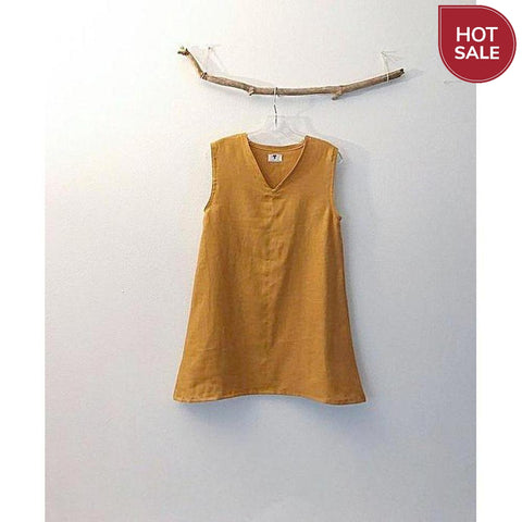 autumn gold linen top - size S - ready to wear-top-linen clothing by anny