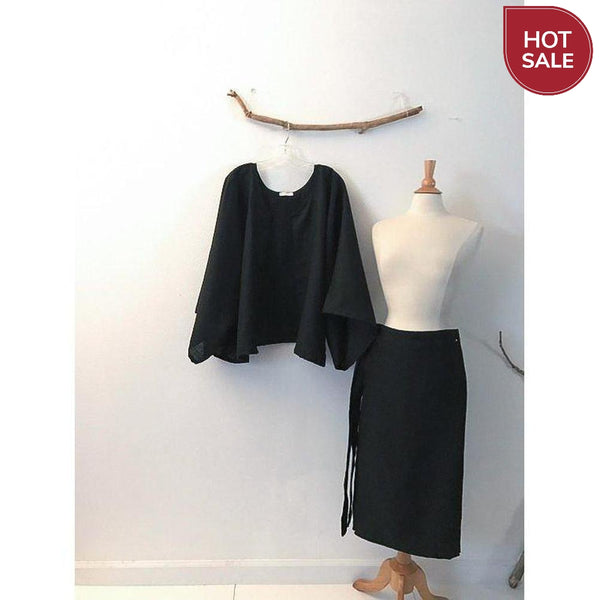 Sold / black linen  mid calf length wrap skirt - ready to wear - linen clothing by anny