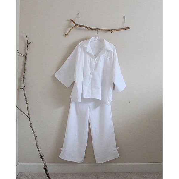 oversized linen shirt top and pants with frog toggles made to order