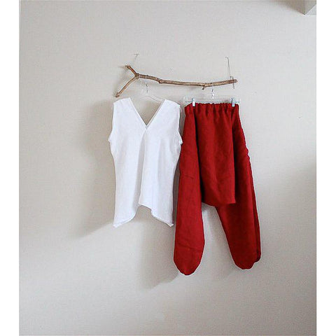 custom linen outfit sleeveless sparrow top and chipmunk low crotch pants