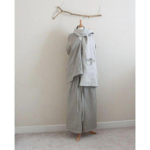 custom natural pebble linen outfit top, pants, scarf - linen clothing by anny