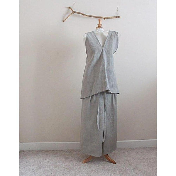 custom natural pebble linen outfit top, pants, scarf-linen outfit-linen clothing by anny