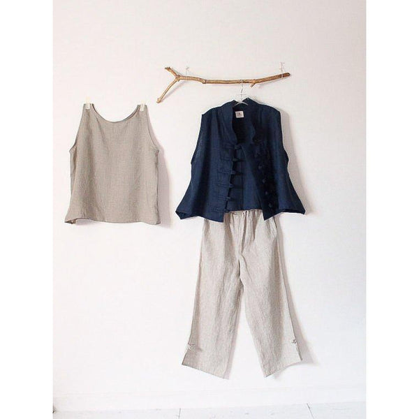 custom SUMMER linen outfit tank top VEST pants - linen clothing by anny