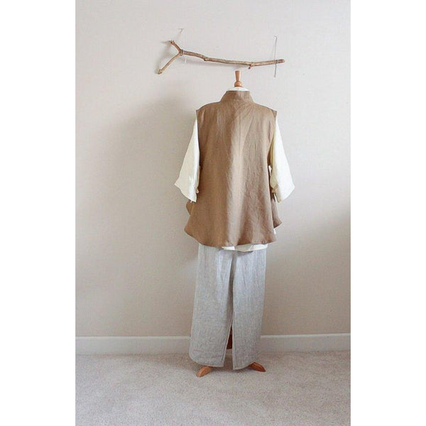custom linen outfit blouse vest pants-outfit-linen clothing by anny