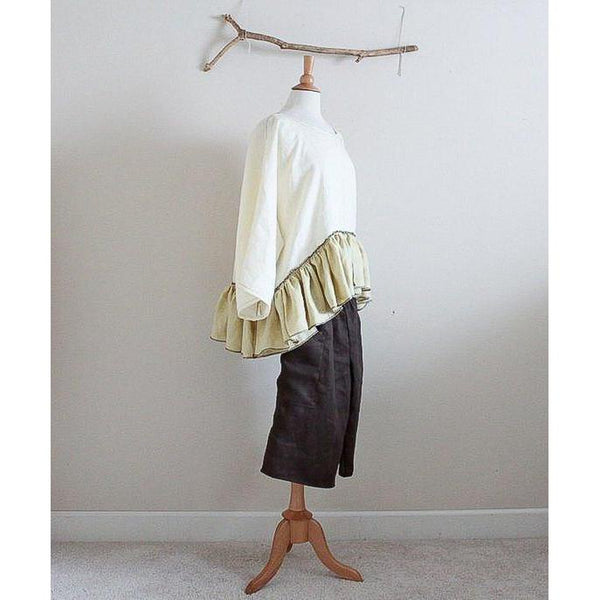 shirred waist linen straight leg gaucho custom listing - linen clothing by anny