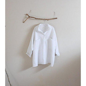 linen shirt with oversized pockets made to order - linen clothing by anny