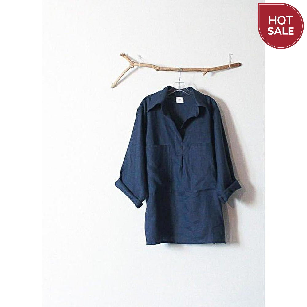 deep blue linen shirt overized pockets size XL / XXL ready to wear-shirt-linen clothing by anny