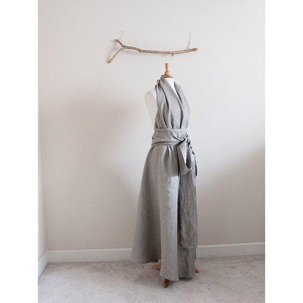 custom linen chic halter floor length dress with obi and roses-linen clothing by anny
