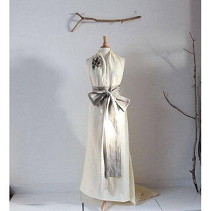 custom linen chic halter floor length dress with obi and roses - linen clothing by anny