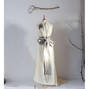 custom linen chic halter floor length dress with obi and train