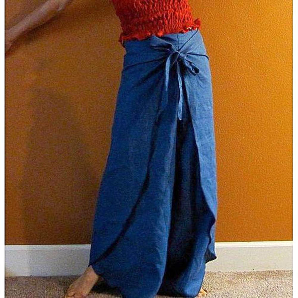 linen butterfly flare wrap around pants custom listing-linen clothing by anny