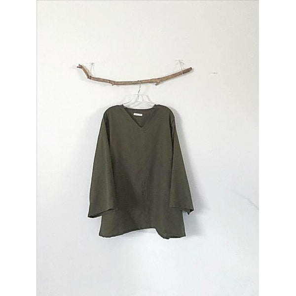 olive linen blouse with V neck - linen clothing by anny
