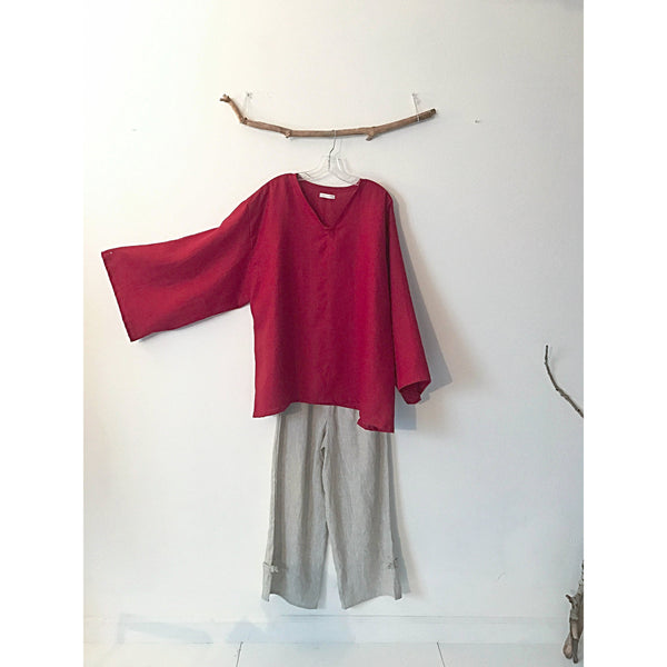 red linen blouse and mix linen pants