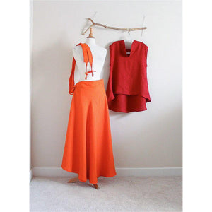 custom linen outfit geisha collar sleeveless top and flare skirt