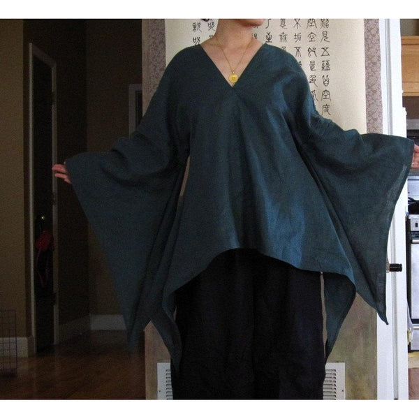 custom SWALLOW linen top with fairy sleeves