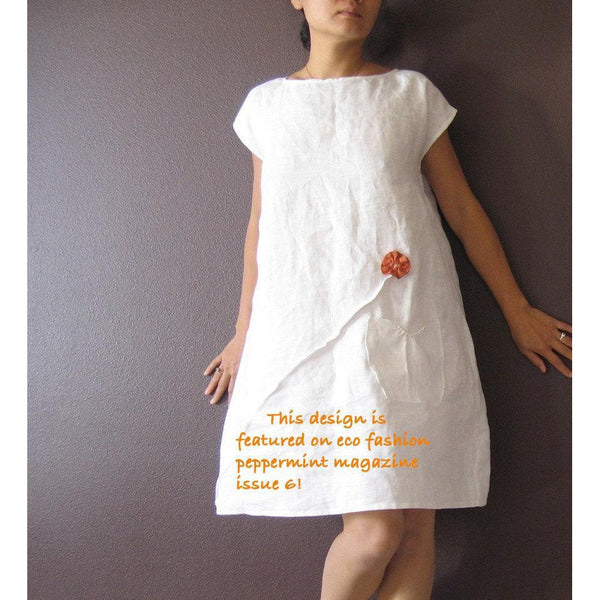 custom linen dress white with rust pleated flowers