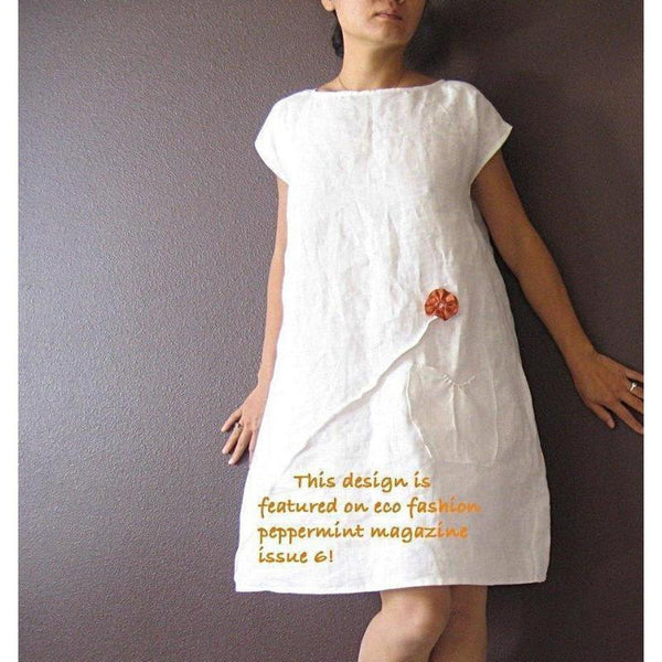 custom linen dress with pleated flowers-linen clothing by anny
