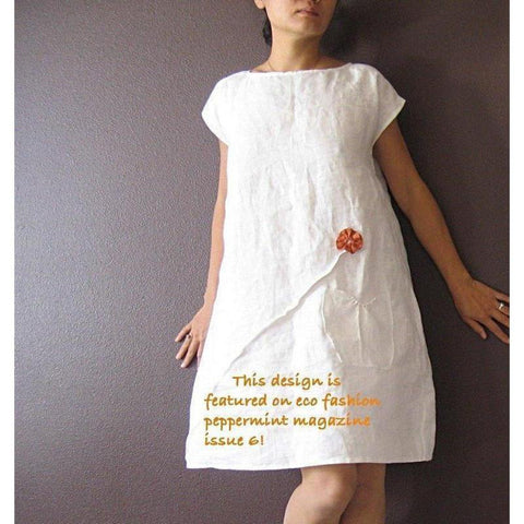 custom linen dress with pleated flowers - linen clothing by anny